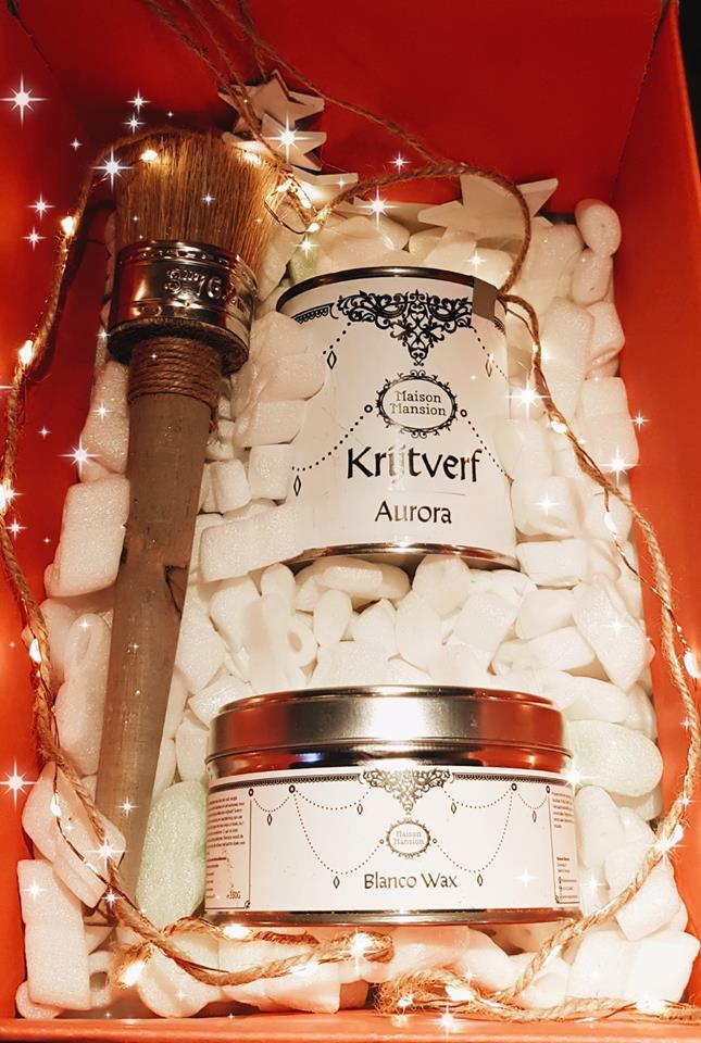 MaisonMansion, kado set, feestje, elke gelegenheid, wax kwast, blanco wax, krijtverf 500 ml